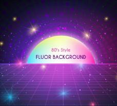 紫色网格光效背景图片