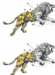 咆哮的金色狮子描摹矢量图图片