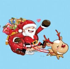 卡通圣诞老人雪橇麋鹿图片