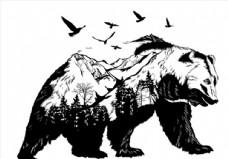 黑白熊头图案图片