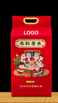 大米袋包装设计平面图图片