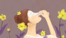 彩妆美女插画图片