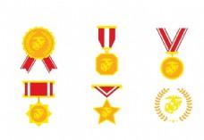 金黄色徽章奖章设计素材图片