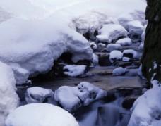 被雪覆盖的小溪图片
