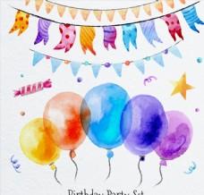 气球和节日拉旗图片