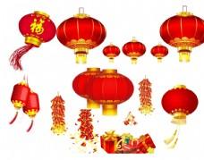 中国新年灯笼鞭炮素材图片