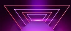 紫色渐变立体霓虹光效背景图片