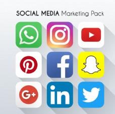 新媒体社交图标矢量图片