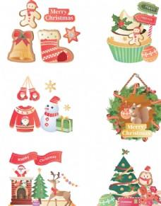圣诞节卡通元素矢量装饰图片