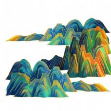 国潮山川山脉装饰元素图片