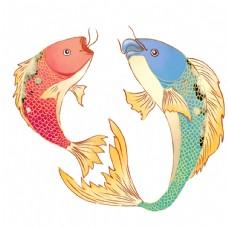 国潮手绘金鱼元素图片