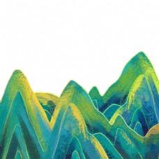绿色国潮山川装饰元素图片