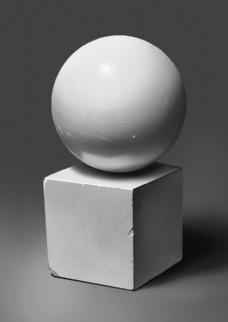 手绘球体与正方体图片