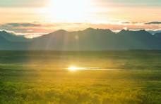 北极圈上方的苔原景观图片