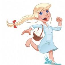 卡通手绘可爱小女孩图片