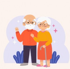 老人亲情父母插画图片