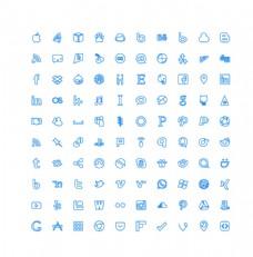 100个社交媒体UI图标图片