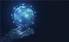 手托起地球科技网络信息EPS图片