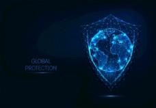 概念地球盾牌安全杀毒软件图片