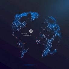 抽象3D矢量全球化地球EPS图片