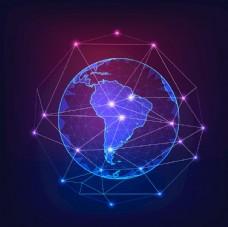 点线连接地球信息化5G通讯图片