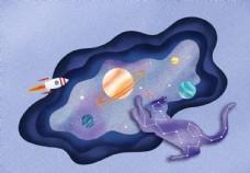 肌理插画分层猫咪星球图片