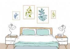 手绘卧室图片