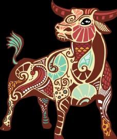 多彩的动物牛的卡通形象高清PN图片
