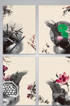 手绘水墨中国风元素海报图片