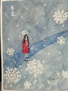 雪中的姑娘水彩手绘图片