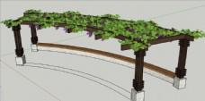 弧形花架SU模型图片