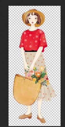 提着鲜花的女生图片
