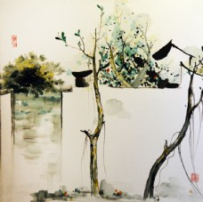 江南水乡装饰画图片