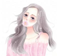 原创手绘水彩美少女插画图片