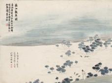 齐白石国画藕池观鱼图图片