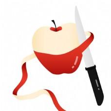 卡通削红苹果素材图片