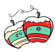 卡通手绘圣诞手套苹果圣诞节图片