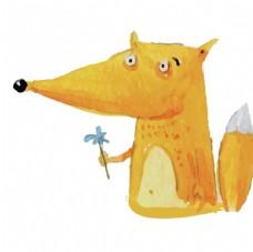 手拿鲜花的小狐狸图片