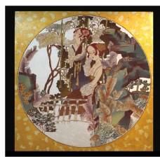 刺绣圆形装饰画图片