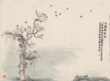 齐白石国画古树归鸦图图片