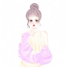 原创手绘美少女插画图片