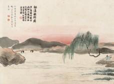 齐白石国画柳溪晚钓图图片