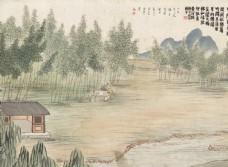 齐白石国画竹院围棋图图片