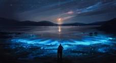 晚上星星月亮浪漫恋人图片