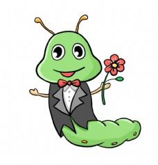 手拿鲜花的毛毛虫插画图片