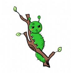 树枝上的毛毛虫插画图片