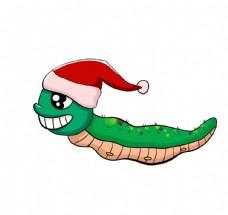 带圣诞帽的毛毛虫图片