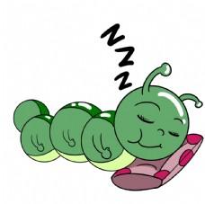 卡通睡觉的毛毛虫插画图片
