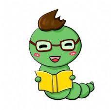 戴眼镜看书的毛毛虫图片