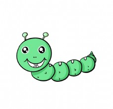 卡通快乐毛毛虫的矢量插画图片